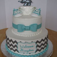 Baby Boy Shower elephant, shoes and bow are gumpaste, the rest is buttercream. for a coworker's daughter's baby shower.