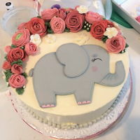 Baby Girl Shower Cake I made this for a friend of mine who's daughter is having a baby girl soon. The theme was elephant and roses. This was a carrot cake...
