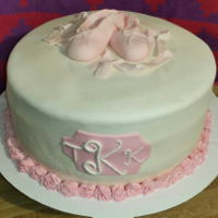 Ballet Ballet slippers made from gumpaste, pink and white fondant