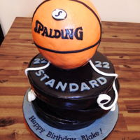 Basketball & Barbell Cake 3 layers of offset barbells ( chocolate cake ) and 1/2 vanilla, 1/2 styrofoam basketball.. It took a lot of skewers for support and I...