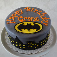 Batman Cake Eight inch round in fondant.