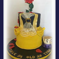 Beauty And The Beast Cake 2 tiered cake with sugar dress lace