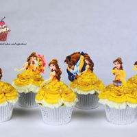 Beauty And The Beast Cupcakes Buttercream cupcakes with printed toppers. I've made a tutorial for these but unfortunately CC does not let you post tuts anymore :(