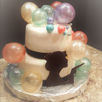 Blowing Bubbles Chocolate cake with chocolate peanutbutter frosting covered with fondant and decorated with gel bubbles