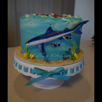 Blue Shark Birthday Cake Blue shark birthday cake for a coworkers dad's birthday. They spend a fair bit of time together in the summers on the water shark...