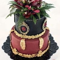 Boho Chic Wedding Cake elegant boho chic wedding cake gorgeous and rich burgundy, black and gold color