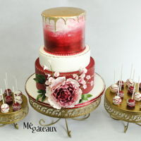 Burgundy And Gold Wedding Cake burgundy and gold wedding cake with large ombre peony. I'm in love!