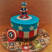 Captain America Cake buttercream cake with fondant decorations