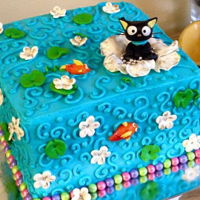 Choco Cat Koi Pond Fondant buttercream