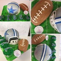Dallas Cowboy Helmet Pineapple cake and cupcakesButtercream and fondant