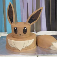 Eevee Pokemon Cake Close up of the Eevee cake.