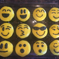 Emoji Cupcakes Chocolate cake. Yellow BC icing.