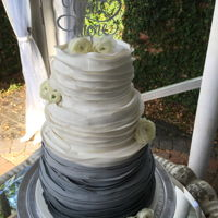 Fifty Shades Of Grey Ombre Grey Wedding Cake; four (4) tier, white almond w/lemon filling