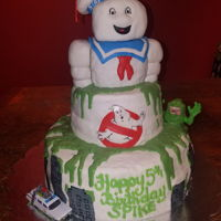 Ghostbusters Cake! Buttercream covered with MMF details, stay puft is mmf covered rice Krispy treats, slime is melted candy coating!