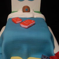 Goodnight Moon Cake with buttercream; gumpaste headboard, fondant blanket and accessories