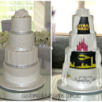 Half Tradition Half Disney And Superhero This 4 tier cake was for a gorgeous wedding being held at Caversham House. The bride and groom wanted a simple traditional design for the...