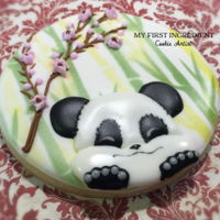 Happy Panda royal icing sugar cookie. Air brushed bamboo back ground