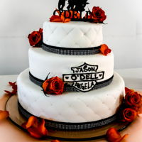 Harley Davidson Wedding Cake Real roses, covered in MMF