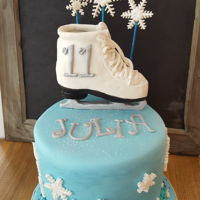Ice Skating Cake Vanilla cake with cookie dough buttercream. RKT ice-skate covered in fondant.
