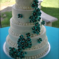 June Garden Wedding Teal hydrangea June Garden Wedding Cake