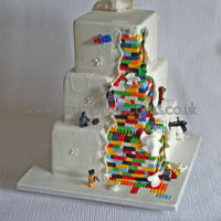 Lego Superhero Wedding Cake Fantasy sugar flowers at the front and Lego Superheroes at the back - PJ x