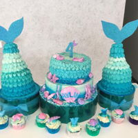 Mermaid Cakes And Cupcakes Mermaid cake10¨ chocolate-nutellla cake8¨butterpecan cakeButtercream cover 2 tails 6¨chocolate-almond buttercream...