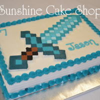 Minecraft Diamond Sword Simple frozen buttercream transfer for my son's birthday. 1/4 sheet cake.