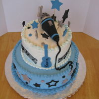 Music, Mic, Guitar mic made of ice cream cone covered with fondant, ball end is rice krispies covered with fondant.