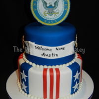 Navy Welcome Home Welcome home cake for someone serving in the Navy. All fondant, with chocolate anchors and edible image on top.