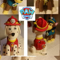 "Paw Patrol Pups Made from Satin Ice fondant/gum paste 50/50 for Icing Smiles cake. About 3""."