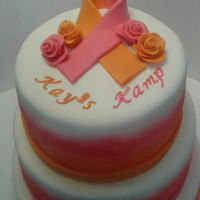 Pink And Orange Airbrushed Cake Cake I donated to a cancer fundraiser for children who have cancer called Kay's Camp. Inside layers were orange and vanilla and also...