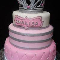Pink & Silver Princess 2-Tiered pink with silver gumpaste crown