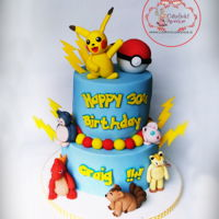 Pokemon Cake Absolutely loved making this one! So much fun! Chocolate Biscuit and Red Velvet Pokemon Cake for Craig who is 30 now :)
