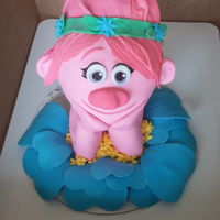 Princess Poppy Trolls 3D Cake 3D Princess Poppy from the Trolls Movie, made with fondant