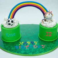 "Rainbow Birthday Cake Birthday cake for a young lady who likes soccer, unicorns, and rainbows. Two 6"" vanilla cakes with vanilla buttercream filling,..."
