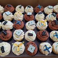 Rc Plane Themed Cupcakes Chocolate & vanilla cupcakes for a little boy's birthday party. He loves flying RC planes so decorations are little helipads,...