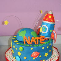 Rocket Birthday Cake 5th birthday party.