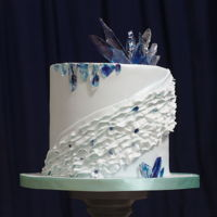 "Ruffles And Ice Double chocolate cake with sugarpaste ruffles and sugar ""ice"" shards."