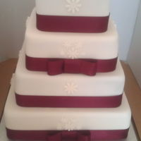 Simple 4 Tier Wedding Cake four tiered wedding cake, white and burgandy