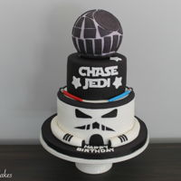 Star Wars Birthday Cake Star Wars birthday cake! Bottom tier is designed as the storm trooper, and the topper is the death star.