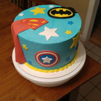 Superhero Cake All buttercream with fondant decorations.