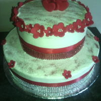 Valentine Cake Tow tier cake. Bottom vanilla and top chocolate. Made for a group of couples