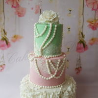Vintage Wedding Cake Green and pink wedding cake