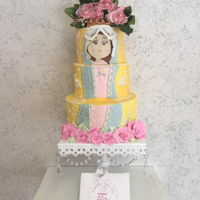 Virgencita Primera Comunion 3 tiers8¨,6¨,5¨Pistacho & cherry cakeButtercream, fondant, lace edible, royal icing and flowers.