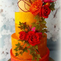 Wedding Cake Fall Wedding cake with fall colors and sugar flowers