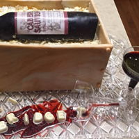 Wine Cake! Made this for a friends birthday Sadly the weather went from 68 to 82 so when I went to get the cake out the bottle was flat and the sides...