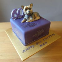 Yorkshire Terrier 60Th Birthday Cake Made this cake for my aunt's birthday from her daughter. She loves the colour purple and her Yorkshire terrier, so this is what I came...