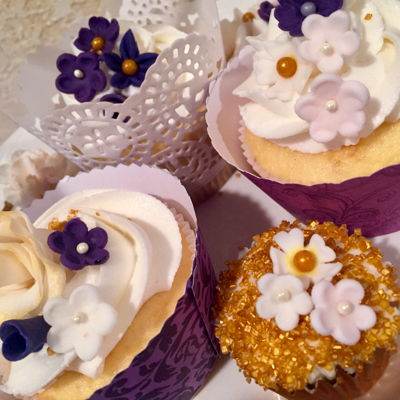Bridal Shower Cupcakes Purple and Gold wedding Shower Cupcakes. Fondant flowers.