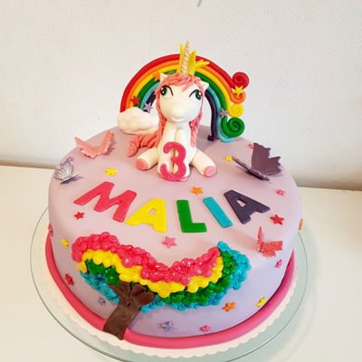 Filly Birthday Cake Birthday cake for a little Filly fan.Inside is a rainbow cake with smarties core.