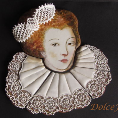 "Lady In Lace Royal icing on cookies. Inspired by a sixteenth century portrait: ""Madame la Connétable des Augures""(detail) Current..."